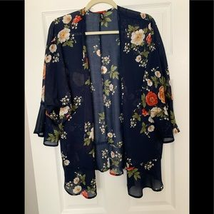 Kimono top throw navy blue with flowers small